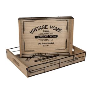 Bilde av Serveringsbrett Vintage Home i tre og metall